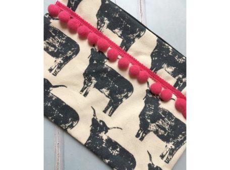 Izzi Rainey Highland Cattle Pom Pom purse