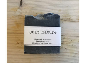 Cult Nature Charcoal and Orange essential oil handcrafted soap bar.