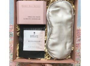 Gift for her. Curated rose gold gift box containing Banks Lyon Botanical Face mask, Silk eye mask and Secret Salt Society Bath Infusion.