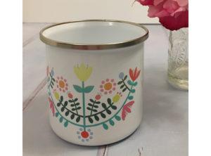 Folk Flowers Enamel Mug