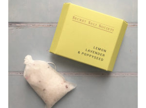 Secret Salt Society English Lemon, Lavender and Poppyseed Bath Infusion. Gift for birthday and thank you.