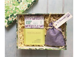 Emma Bridgewater gift box containing Lavender bag, Soap Folk soap and Secret Salt Society lemon bath infusion.