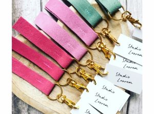 Colourful suede keyring in a choice of colours
