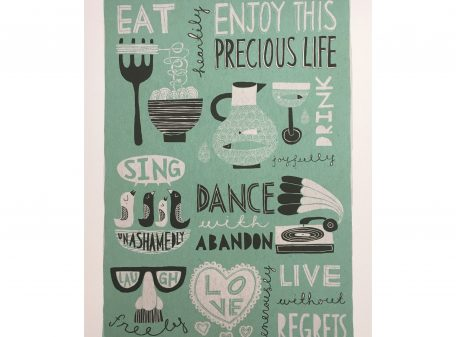 Freya art & design Enjoy This Precious Life Print Green